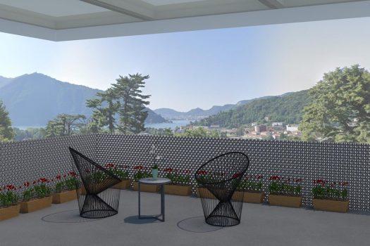 Attic in Cernobbio with solarium and lake view